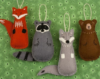 Felt Ornament PATTERN BUNDLE, Fox, Raccoon, Bear, Wolf, Woodland Animal, Forest Friend, Nursery Decor, Package Topper, DIY Handmade Gift