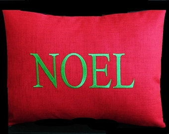 Monogrammed Outdoor Pillow Cover in Cherry Red - Noel / Christmas