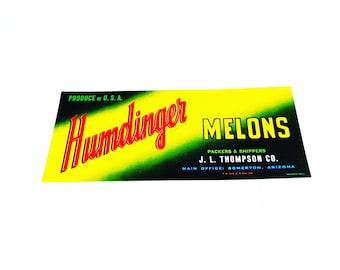 Vintage New Old Stock Unused HUMDINGER Melons Vegetable / Fruit Crate Label
