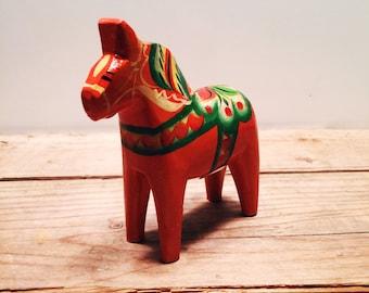 Vintage Sweden Swedish Scandinavia Danish Hand Carved Painted Dala Horse