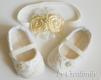 Ivory Flower Girl Shoes Christening Shoes Baptism Shoes Soft Sole Shoes Crib Shoes Toddler Shoes Flower Girl Flat Wedding Shoes Baby Gift