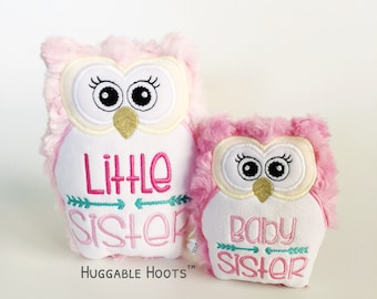 Stuffed Owl Sibling Set - Little Sister Baby Sister Gift - Stuffed Animal - Sibling Birthday - Personalized Owl - Kawaii Plush - New Sister