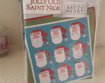 "2013 Jolly Old Saint Nick Quilt and Pillow Pattern Approximate Size 60"" x 61"" NOS"