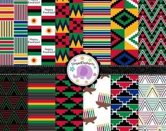 50% OFF SALE Kwanzaa Digital Papers, Kwanzaa Scrapbook Paper, Kwanzaa Digital Background, Instant Download, Commercial Use