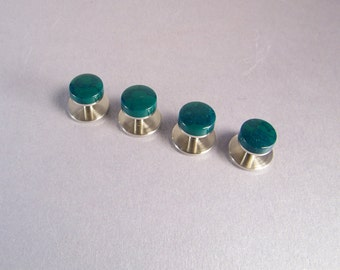 Green Shirt Studs SHIPS IMMEDIATELY Handmade Composite Jade Dark Green Tuxedo Shirt Studs