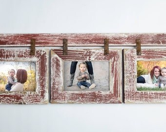 Barnwood Collage Barn Red & White Frame 3) 8x10 Multi Opening Frame-Rustic Picture Frame-Landscape or Portrait-Collage Frame-Collage Frame