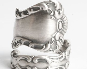 Silver Rococo Ring, Sterling Silver Spoon Ring, Antique Spoon Ring, Watson Co St. Louis of 1904, Handmade Gift, Adjustable Ring Size (6051)