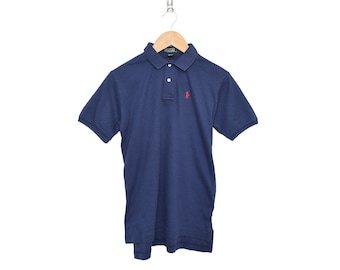 Vintage 90's POLO by Ralph Lauren Dark Navy Blue 100% Cotton 2 Button Up Short Sleeve Collared Shirt Women's Medium 20, Made in USA