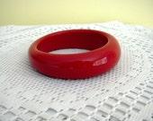 Vintage Asymmetrical Red Plastic Retro Chic Chunky Bangle Bracelet