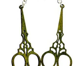 Seamstress Scissors Earrings - Wooden Earrings