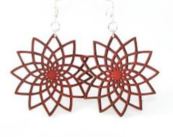 Geometric flower - Beauty in Symmetry - Wood Earrings