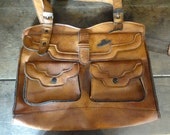 Vintage English Brentella Leather Brown Ladies Handbag Carry Case Carrier Soft Accessories Hand Bag circa 1980-90's / English Shop