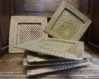 Vintage French Wicker Woven Wickerwork Plates Dishes Chargers SOLD INDIVIDUALLY circa 1970-80's / English Shop