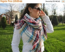 on sale Red turquoise blue tartan plaid blanket scarf/oversize blanket scarf/wraps shawl-men's scarves-women's scarves-man fashion gifts for
