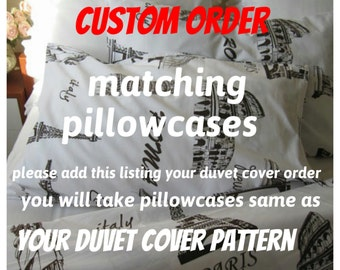 pillow case TWIN XL Dorm bedding - Custom  matching pillowcases for your ordered duvet cover - Book bedding - pillow sham cover