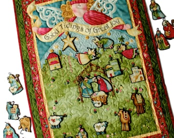 Advent Calendar  Nativity Quilt   Angel Wall Hanging   Religious Holiday Decor  Children's Activity Panel  Baby Jesus and Manger