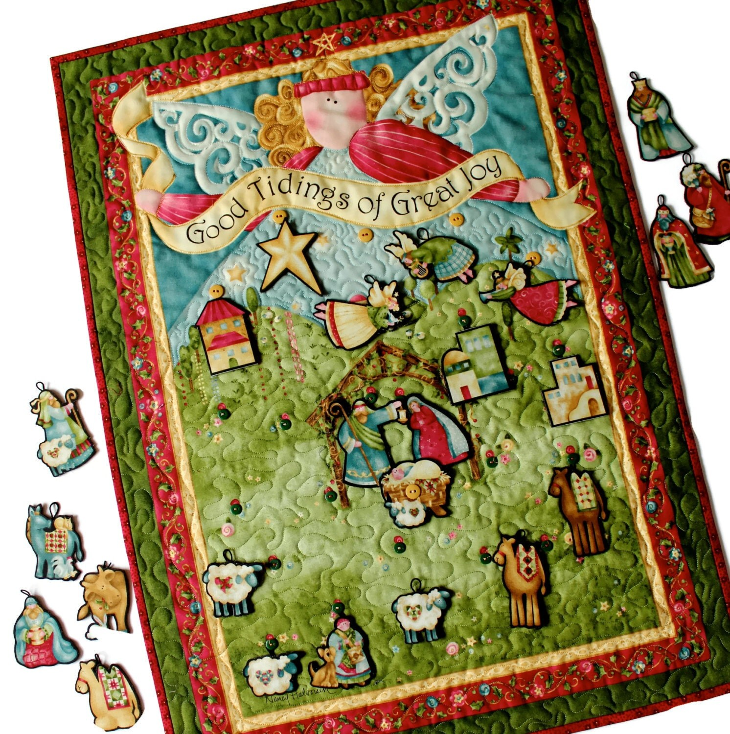 Nativity Advent Calendar Quilted Angel Wall Hanging