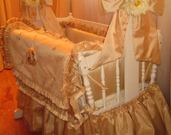 Fawn Neutral Colors used to Detail Crib Blanket / Bumpers / Skirt/ Bows / Nursery bedding in Dupioni Silk and Organza