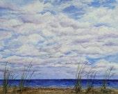 Clouds Print, Beach Print, Beach Painting, Beach Watercolor, Clouds Ocean Art, Beach Wall Art, Coastal Art, Clouds Wall Art Beach Home Decor