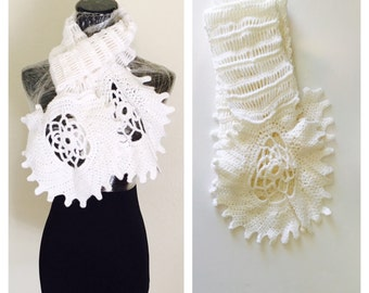 Long White Scarf, Snow Flake Design, Woman Fashion, Hand Made in the U S A, Item No. BDE004