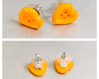 Orange Heart Earrings, Silver Tone Post, Halloween Accessory, Item No. De310