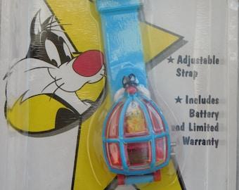 1994 NIP Looney Tunes Action Watch By Armitron Sylvester And Tweety Bird Wrist Watch