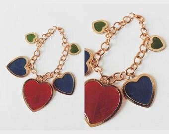Vtg 80s Rainbow Heart Charm Bracelet