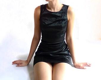 vintage 90's clubwear 'The Gear Company' black satin mini dress . size extra small xsmall