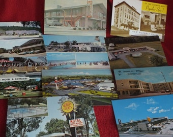10 Vintage Unused Postcards - Various Motels and Hotels in various cities -TraveLodge Quality Courts Twi Lite Motel Waverly Hotel