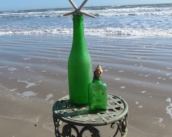 Set of Two Vintage Antique Green Bottles with Starfish and Shells