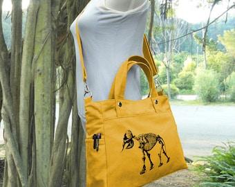 Golden canvas messenger bag / shoulder bag / laptop bag / brief case / diaper bag / tote bag / travael bag
