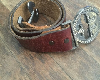 FREE SHIPPING//Dark brown leather belt with oriental puzzle front closure clasp