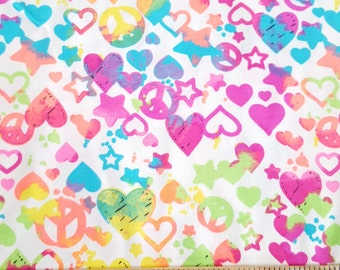 Fun Colorful Neon Hearts on Cotton Jersey Knit Fabri