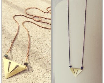 Laser Cut Triangle and Turquoise pendant Necklace - Cheveron geometric brass jewelry