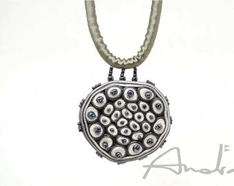 Statement necklace grey dots, fiber necklace beaded - Textile jewelry OOAK ready to ship