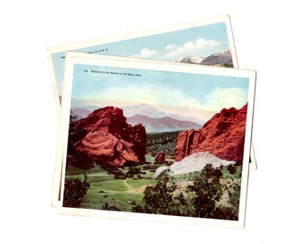 3 Over Sized Vintage Colorado Postcards Blank - Travel Themed Wedding Guestbook