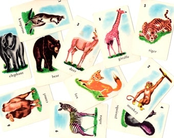11 Vintage Animal Game Cards - Mixed Media, Altered Art, Collage, Scrapbooking, Assemblage Supplies