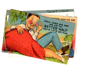 5 Vintage Humor Used Postcards - 1940s/1950s used postcards