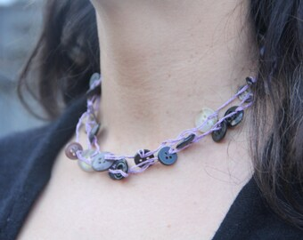 woven necklace // purple buttons // triple strand // multi strand // vintage buttons // hemp twine // eco gifts // gifts for her