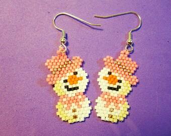 Pink Snowman Bead Earrings