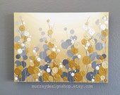 Mustard Yellow and Grey Wall Art, 18x24 Textured Painting, Abstract Flowers,  Acrylic Painting on Canvas-- Ready to ship