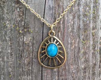 Gorgeous turquoise howlite pendant