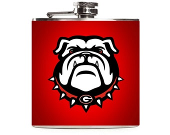 University of Georgia Bulldogs Football Flask, UGA, Red Leather, Personalized Stainless Steel 6oz Hip Flask