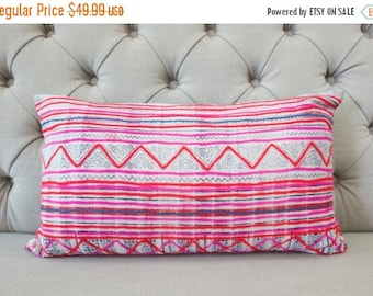 ON SALE, Vintage Hmong Cotton cushion cover, Handwoven Cotton Fabric,Scatter cushions