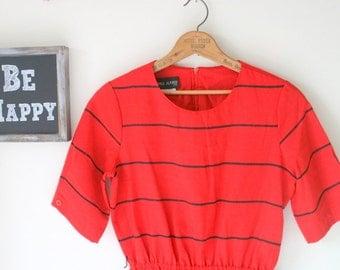 Vintage THAT GIRL Red Dress....small to medium....red dress. retro dress. black. mod. twiggy. fancy. classic. 1980s dress. rocker. business