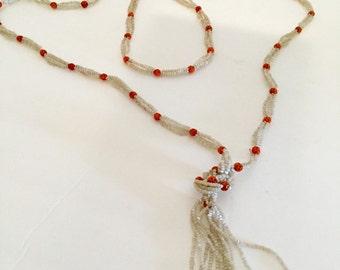 Art Deco Cut Glass Flapper Necklace 1920's Jewelry
