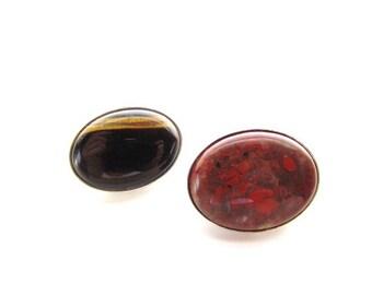 2 Stone Cabochons in Silver Setting-Tiger's-eye - Poppy Jasper