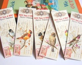 Bookmarks * Birds On Branches Victorian Vintage Bird Illustrations Nature Flowers - Set Of 6 Small Paper Bookmarks