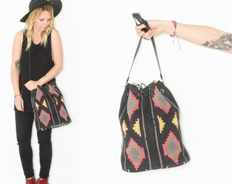 Vintage Tribal Print KILIM Bag , Southwestern Tapestry Bag