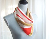1970's Striped Vera Silk Scarf, In Gold, Red, and White